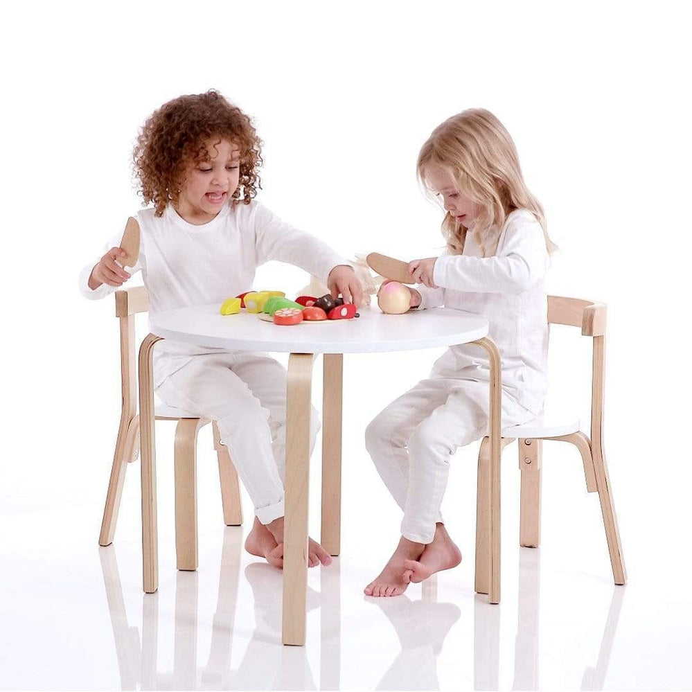 Modern Birch Wood White Natural Table 2 Chairs Set For Children By Hip Kids