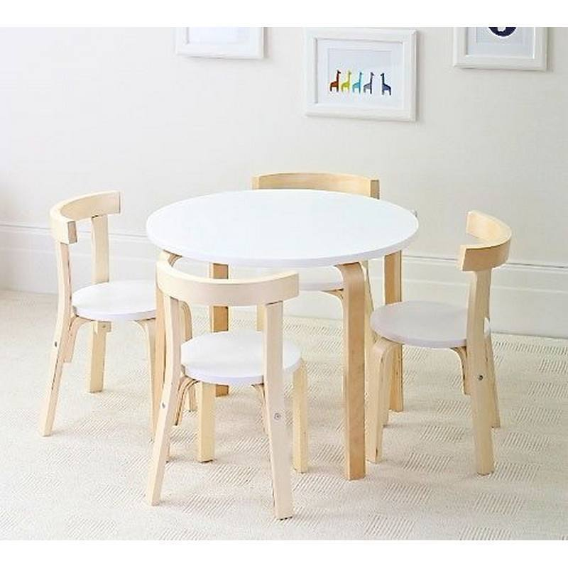 Childrens Birch Wood Table 4 Chairs Set Australia Hip Kids