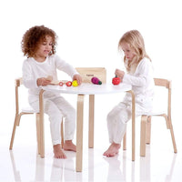 Boston Nat/White Table & 4 Chairs Set