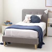 HARLOW King Single Upholstered Bed Storm Grey - Linen Fabric