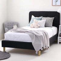 HARLOW Single Upholstered Bed Graphite - Linen Fabric