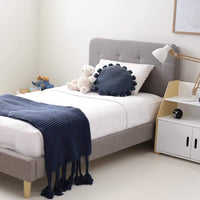 HARLOW Single Upholstered Bed Storm Grey - Linen Fabric