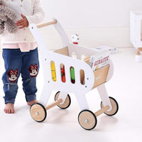 HipKids Wooden Shopping Trolley-White