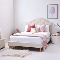 MIA Double Upholstered Bed- Natural - Linen Fabric