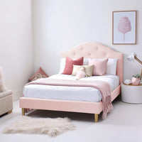MIA Double Upholstered Bed - Pale Pink - Linen Fabric