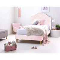 MIA King Single Upholstered Bed Pale Pink - Velvet
