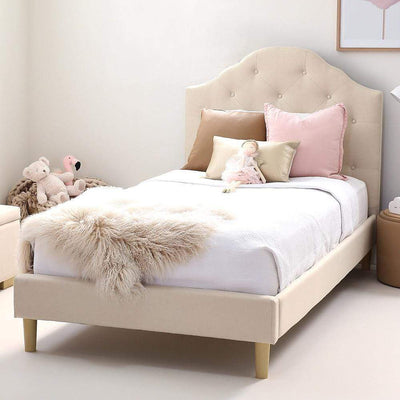 MIA King Single Upholstered Bed Natural - Linen Fabric