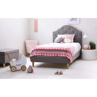 MIA King Single Upholstered Bed Storm Grey - Linen Fabric