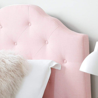 MIA King Single Upholstered Bed Pale Pink - Linen Fabric