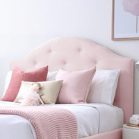 MIA Single Upholstered Bed Pale Pink - Velvet