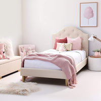 MIA Single Upholstered Bed Natural - Linen Fabric