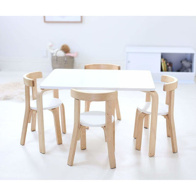 WHITE Clio Table (excludes Chairs)-Natural / White
