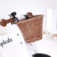 Wooden Balance Bike w/ Wicker basket-White