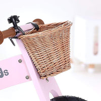 Wooden Balance Bike w/ Wicker basket-Pink