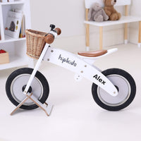 Wooden Balance Bike w/ Wicker basket
