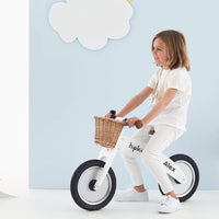Wooden Balance Bike w/ Wicker basket white