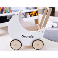 Wooden Moon Doll Pram-White
