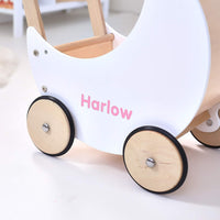 Wooden Moon Doll Pram White