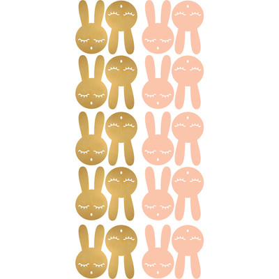 Bunny Rabbit Wall Decal Stickers Gold Pink