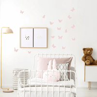 Pom Pom Butterfly Wall Decal Stickers Pink