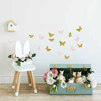 Pom Pom Butterfly Wall Decal Stickers Gold Pink