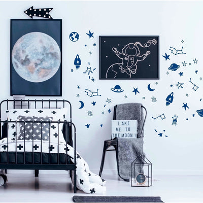 POM POM Space Wall Decal Stickers Blue