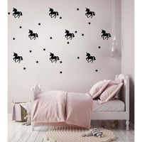 Pom Pom Unicorn Wall Decal Stickers Black