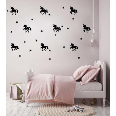 Unicorn Wall Decal Stickers Black