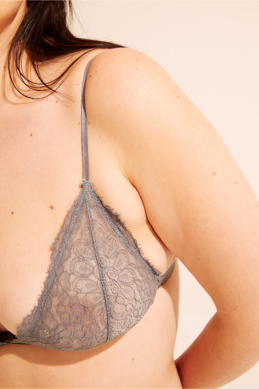 The Crosby Bralette - a triangle lace bra with adjustable straps and a snap closure back. Available in XS - XXL.