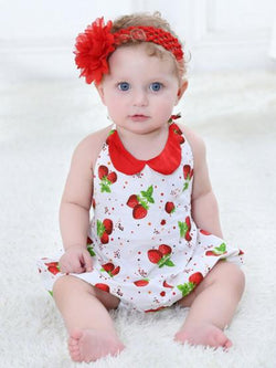 strawberry printed baby girls romper