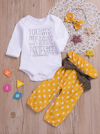 2-piece baby letters printed romper dots yellow pants set
