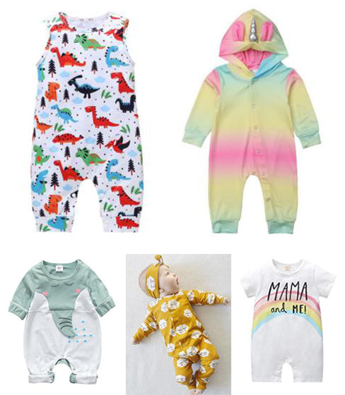cartoon design letters printed baby rompers