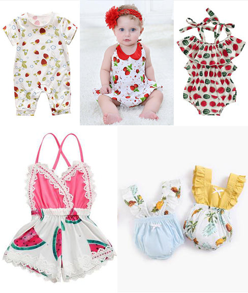 fruit pattern baby rompers
