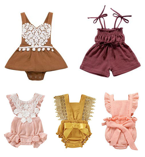 muslin solid color baby romper