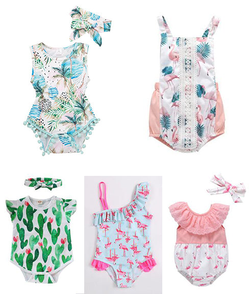 plant flamingo pattern baby rompers