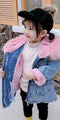 2 Colors Winter Stylish Denim Fur Hooded Winter Coat Jacket Pink and Blue