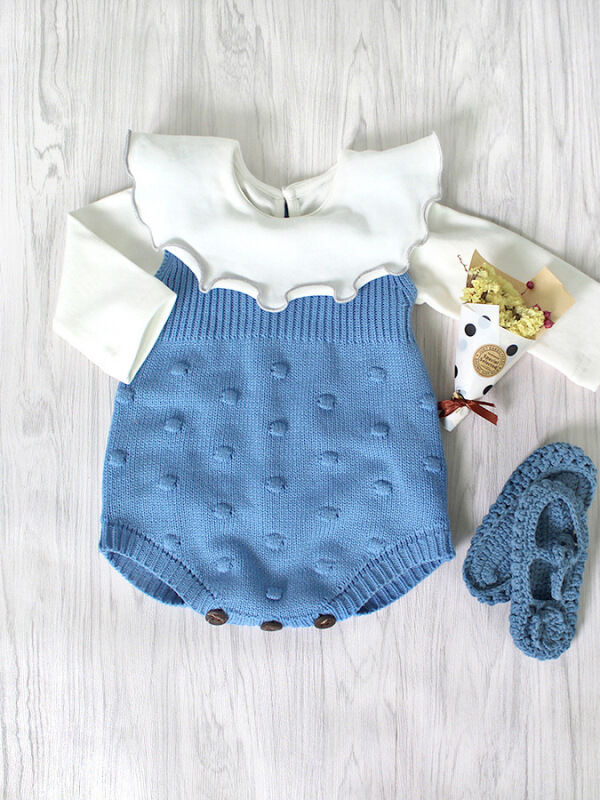 Sleeveless Knitted Wear Buttoned Baby Romper