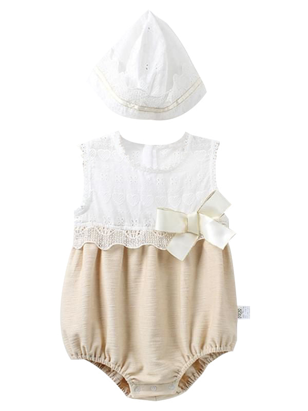 Paneled Sleeveless Romper Detachable Hat Set