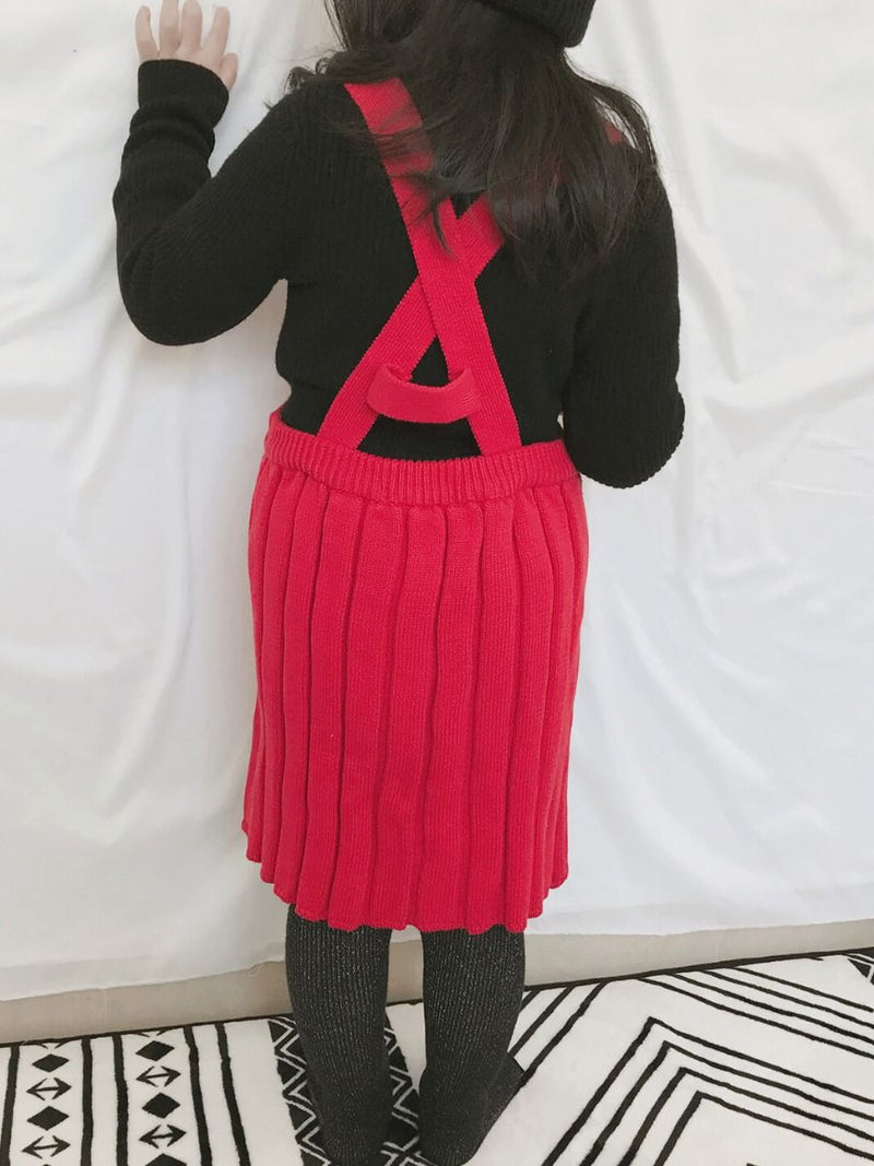 Knitted Sweater Cardigan Top Straps Skirt Set