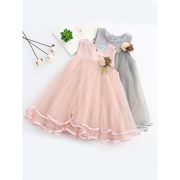 Sleeveless Big Hem Mesh Princess Party Dress