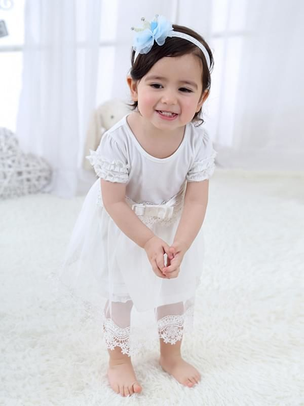 Princess Crown Pattern Head-wear Tulle Lace Elastic Headband