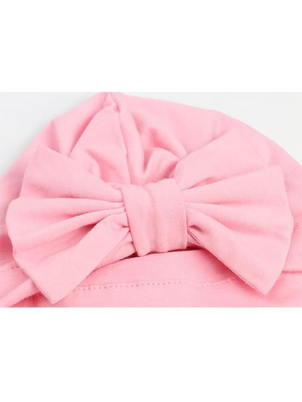 Cotton Cap Bow-knot Pattern Solid Color Elastic Head-wear