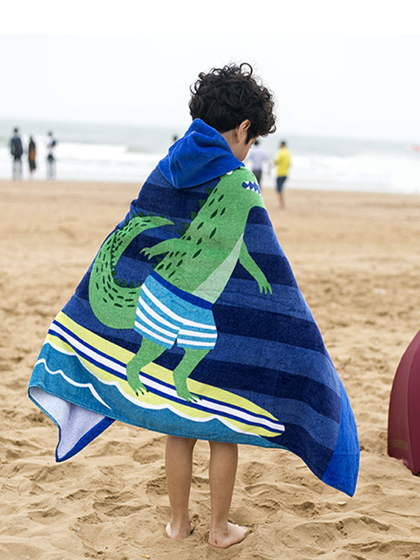 Wearable Thickened Hoodie Bath Towel Soft Hydrophil Formaldehyde-free Beach Towel