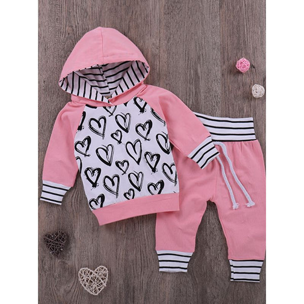 Baby Girls Pink Outfit Hoodie Top Matching Long Trousers