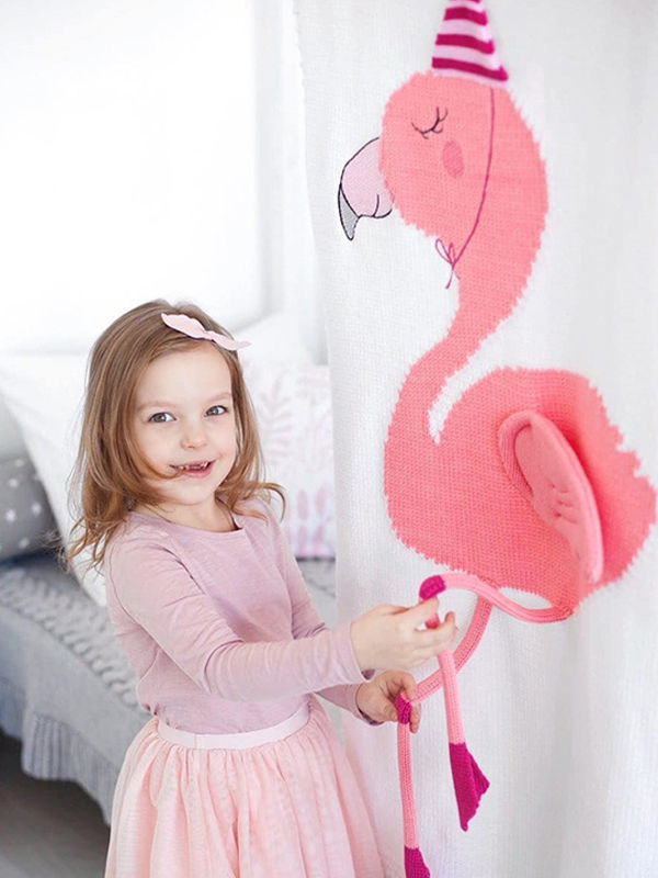 3D Flamingo Pattern Baby Toddler Knitted Blanket Northern Scheme