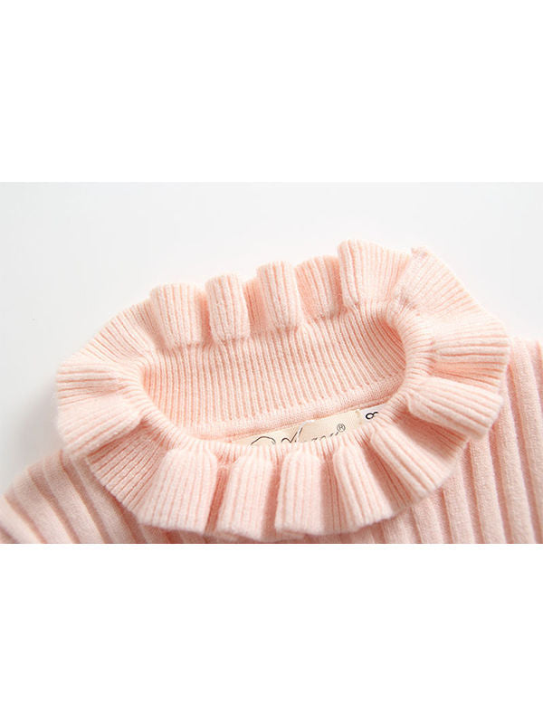 MOMMY AND ME Knitted Sweater Long-sleeve High Collar Top