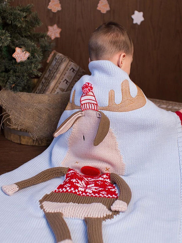 Christmas Deer 3D Ears Knitted Blanket Beach Mat