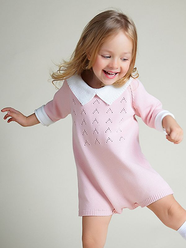 Cute 3/4 Sleeves Knitted Baby Girls Romper Cotton Pink Green Onesies