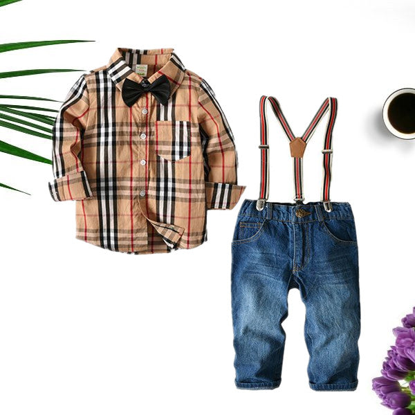 4-piece Outfit Sets Striped Shirt Jeans Belt Bowtie Set Long-sleeve Top For Toddlers Boys