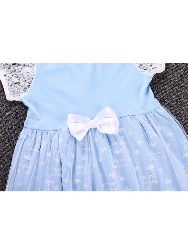 2 Kinds Floral Print Short Sleeves Bowknot Splicing Toddler Baby Girls Princess Party Dress